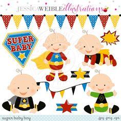 Super Hero Baby Digital Clipart - JW Illustrations
