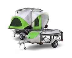 Sylvan GO -- totally sweet little pop-up camper that weighs in at only 840 pounds. Super versatile: carry bikes or a Thule on top, has self-inflating mattresses inside, and a removable dining table.