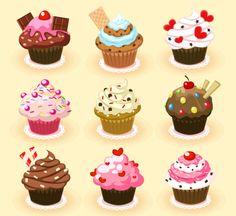 9 вкусных кексов вектор материала