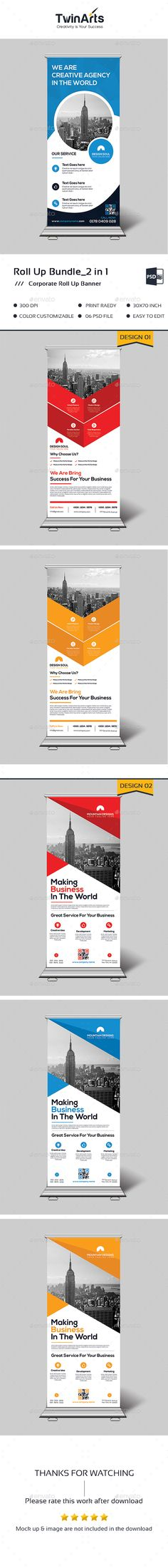 Roll Up Banner Bundle_2 in 1 by Twin-Arts Roll Up Banner Bundle_2 in 1 This is a Corporate Roll Up Banner. This template download contains a 300 dpi print-ready CMYK psd f