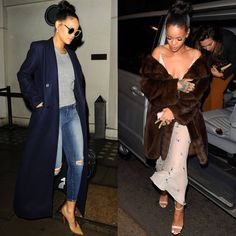 Rihanna's Coat Game is Strong.   Reformation Navy coat and fur coat.