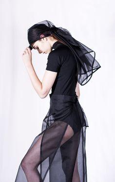 Silk Organza Peaked Scarf Cap - Black   This Is The Uniform.   https://www.notjustalabel.com/shop/thisistheuniform/silk-organza-peaked-scarf-cap-black-0