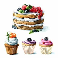 ideas cake drawing desserts for 2019 Fine Art Drawing, Food Drawing, Food Art Painting, Dessert Illustration, Watercolor Illustration, Deco Stickers, Cupcake Drawing, Drawing Of Cake, Food Sketch