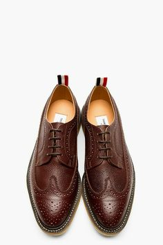 Thom Browne brown pebble wingtip brogue.
