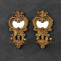 Gold Mirror Sconces  Wooden Mirrored Candleholders  Ornate