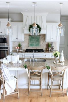Modern Farmhouse Kitchen Island Pendants. Blogger purchased at Homegoods, says the brand is Bassett Furn