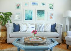 Coastal Style Blue and White Living Room Lakehouse Living Room Makeover Reveal for the One Room Challenge -8