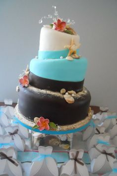 Beach themed bridal shower cake Www.calicocakeshop.com