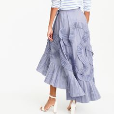 Crew for the Collection ruffle skirt in striped shirting fabric for Women. Find the best selection of Women Skirts available in-stores and online. Ruffle Skirt, Tulle Dress, Fashion 2017, Fashion Dresses, Shirting Fabric, Skirt Pants, Clothing Co, Feminine Style, Cashmere Sweaters