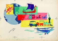 Original Disney Illustration, 1950s: Transportation   Flickr - Photo Sharing!