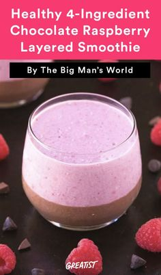 Healthy 4-Ingredient Chocolate Raspberry Layered Smoothie  Don't be fooled by the chocolate—you won't find any added sugar or dairy here. This breakfast smoothie is loaded with chia seeds, raspberries, and carob powder so you won't have to think twice about eating dessert for breakfast.