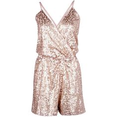 Boohoo Boutique Ria All Over Sequin Cami Playsuit | Boohoo ($52) ❤ liked on Polyvore featuring jumpsuits, rompers, polyester camisole, pink rompers, sequin camisole, pink cami and sequin rompers