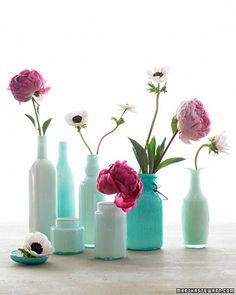 Transform everyday vessels into elegant vases by coating their interiors with glass enamel. Any container will do -- buy up old bottles at a flea market or try kitchen cast-offs, such as jam jars. We used white enamel, which yielded different shades of green depending on the tint of the glass.