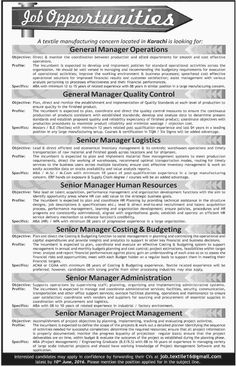 Jobs in Textile Manufacturing Company