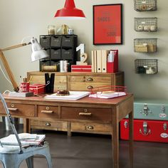office in red - love the wire baskets hanging on the wall