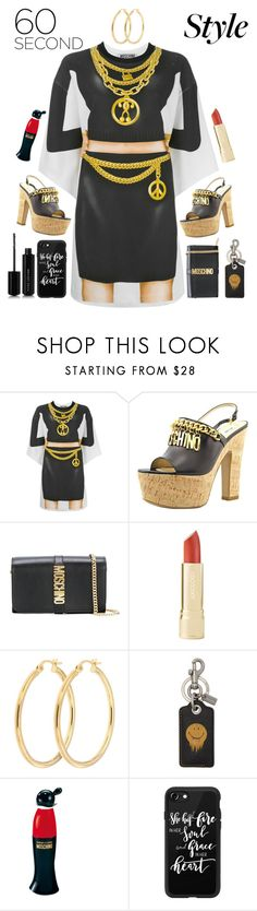"""moschino 60s style"" by katymill ❤ liked on Polyvore featuring Moschino, Coach 1941, Casetify, Marc Jacobs, tshirtdresses and 60secondstyle"