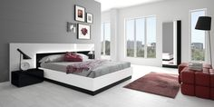 Bedroom:Contemporary Scandinavian Interior Design Bedroom Ideas With Black And White Table Lamps Plus Stand Lamps Feat Bedstead With Headboard Beds Then Red Lounge Chairs Or Modern Sofa Bedand Red Rugs Feat Wooden Floor Scandinavian Interior Design Bedroom Ideas