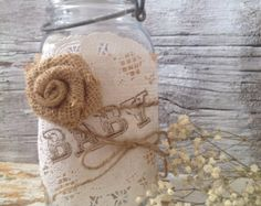 Vintage Baby Shower Decor for 5 Jars, Shabby Chic Baby Shower Centerpiece, Baby Burlap Mason Jar Centerpiece, Dena Danielle Designs
