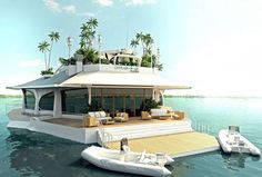Funny pictures about Floating Island Boat. Oh, and cool pics about Floating Island Boat. Also, Floating Island Boat photos. Beautiful Homes, Beautiful Places, Romantic Places, Floating House, Floating Island, Floating Boat, Small Island, Belle Villa, My Dream Home