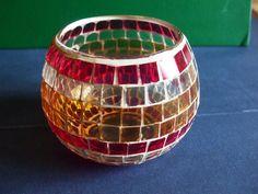 Red Orange Pumpkin Jack-o-lantern Glass Mosaic Candle Holder Vase