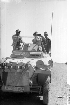 Erwin Rommel and Fritz Bayerlein in the SdKfz. 250/3 command vehicle 'Greif', near Tobruk, Libya, Jun 1942, photo 1 of 4 Photographer: Ernst A. Zwilling German Federal Archive