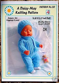 "NEW DOLLS KNITTING PATTERN 16""-18""inch BABYBORN type doll.by Daisy-May. FOR SALE • £3.20 • See Photos! Money Back Guarantee. POSTAGE FREE WITHIN THE UK HERE IS THE NEXT DAISY-MAY DOLL'S KNITTING PATTERN. NEW FOR NOVEMBER 2008. TO FIT A 16 TO 17 INCH TALL, TRADITIONAL SHAPED DOLL, WITH A 152416393315"