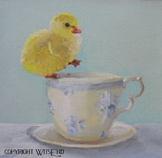 """""""Testing the Waters"""", Duck Tea painting original ooak art FREE usa shipping. by WitsEnd via Etsy. SOLD Sweetest Devotion, Duck Art, Watercolor Canvas, Tea Art, Painting Still Life, Watercolor Illustration, Painting Inspiration, Vintage Art, Art Photography"""