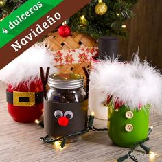 4 Dulceros Navideños This tip will show you how easy it is to decorate some cute Christmas jars to g Christmas Crafts For Adults, Christmas Mason Jars, Homemade Christmas Gifts, Christmas Projects, Kids Christmas, Holiday Crafts, Christmas Decorations, Christmas Ornaments, Christmas Sweets