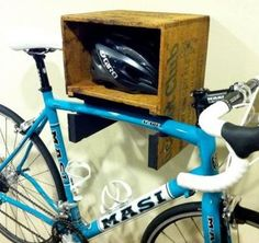 Bike + helmet storage made from wine (crate). A combo I know would be appreciated by many.