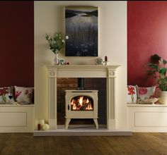 Dovre 425 Gas Stove, Dovre Gas Stoves, by Dovre Gas Stoves, The Dovre 425 traditional gas stove incorporates &lsquo up-to-the-minute&rsquo gas fire technology. This gas stove features all the charm and atmosphere of a superb log effect fire wit. Room Colors, Home Living Room, Cream Living Rooms, Wood Burner Fireplace, Burgundy Walls, Fireplace, Living Room Color, Living Room With Fireplace, Brick Fireplace