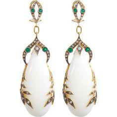 Cathy Waterman Coral, Emerald & Diamond Garland Earrings