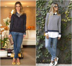 Jeans, camisa e suéter. Sobreposição