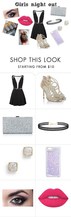 """""""Girls Night Out"""" by netballzoe5656 ❤ liked on Polyvore featuring Jimmy Choo, LULUS, Boohoo, Lime Crime, glitter and girlsnightout"""