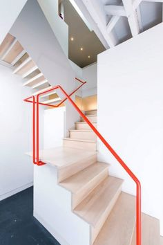 highlighted stair railing in accent color