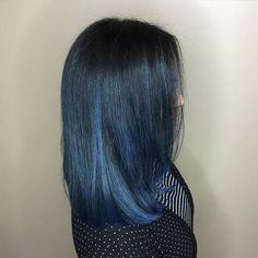 Subtle Blue Balayage For Black Hair Brown Ombre Hair, Purple Hair, Blue Ombre, Blue Lob, Dye My Hair, New Hair, Blue Balayage, Hair Images, Hair Pictures