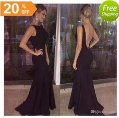 2018 Long Mermaid Sexy Black Evening Dress Backless Boat Neck Cheap Prom  Gown Vestidos De Fiesta Party Dress Evening Dress Prom Dress Online with ... 751d60c486be