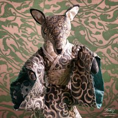 Meet Fumi, curious and coy in her Nuvole kimono before one of our new Leopardi color ways #WS2015 #Fortuny #Fabric #Color #InteriorDesign #Design #Art #FollowTheFox