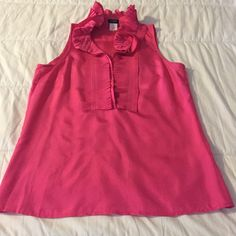 JCREW SILK PINK TOP Sleeveless silk pink too with ruffled collar.  Jcrew Factory. J.Crew Factory Tops Blouses