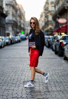 Everyone's got a pencil skirt in their closet that's just a little meh. Give it a new life by wearing it with your coolest OG sneakers, graphic sweatshirt or tee, and a cool clutch.
