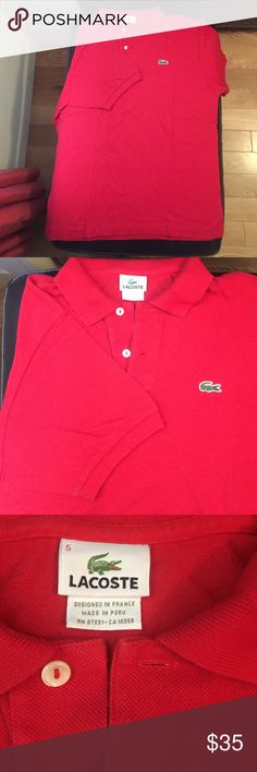 Lacoste Red Men's Short Sleeve Polo Sz. 5 Lacoste Red Men's Short Sleeve Polo Sz. 5 (M). Also fits women's XL. Excellent used condition. Authentic. Lacoste Tops Button Down Shirts