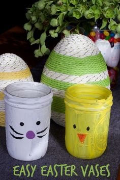 Easy Easter Vases Tutorial the perfect DIY Easter craft to do with the kids.  Easy Easter Decor ideas. http://stayingclosetohome.com/easy-easter-vases-tutorial/