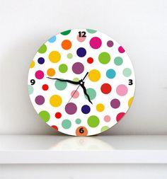 wall clock rainbow colorful polka dots kids decor children room clock boy girl nursery wall art kitchen hostess housewarming christmas gift on Etsy, $49.00