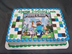 Minecraft Birthday Sheet Cake @sugarshackscia Mario Birthday Cake, Mary Birthday, Happy 13th Birthday, Birthday Sheet Cakes, Birthday Party Themes, Birthday Ideas, Minecraft Party Food, Minecraft Birthday Cake, Minecraft Cake