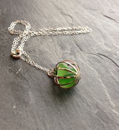 Apple Green Sea Glass Necklace Sterling Silver by BeachCoveJewelry, $28.00