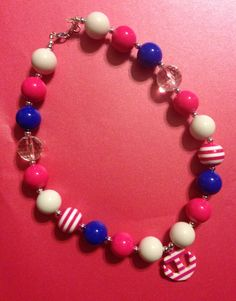Girls Chunky Necklace, Girls Bubblegum Chunky Necklace, Pink, blue, and white Anchor Chunky Necklace on Etsy, $18.00
