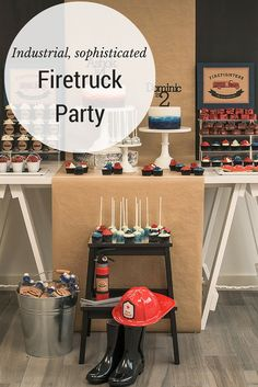Vintage, industrial fire truck themed party.  Read about how to get this look on the blog.