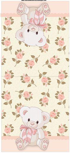 Kit para imprimir feminino - Floral com ursinhos - Dicas pra Mamãe