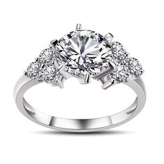 291e0fbe53b5 Round Cut White Sapphire 925 Sterling Silver Engagement Ring. HermosaAnillos  De ...