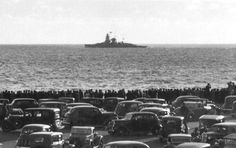 ADMIRAL GRAF SPEE ANCHORED OFF the COAST of URUGUAY, DECEMBER 1939, NOTICE that the city WENT to SEE the giant GERMAN CLOSELY, THIS PHOTO is rare