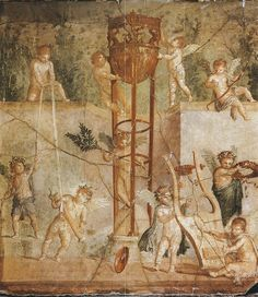 "not-so-nerdyy: ""Just another day @ Apollo's day care center s-c-r-ee-ch: ""Erotes playing with Apollo's belongings Roman Fresco found in Herculaneum, Pompeii "" "" They're literally just messig with. Ancient Pompeii, Pompeii And Herculaneum, Pompeii Ruins, Ancient Greek, Pompeii History, Pompeii Italy, Décor Antique, Roman Art, Greek Art"